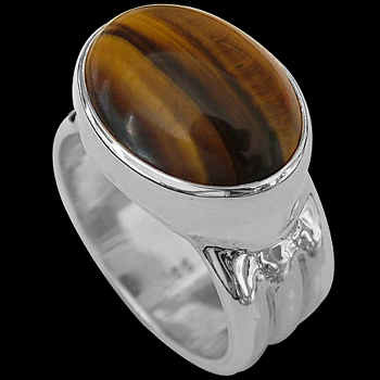 Men's Jewelry - Tiger Eye and .925 Sterling Silver Rings MR15Tig