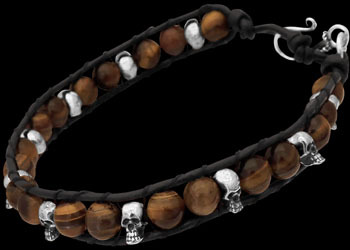 Genuine Black Leather and Sterling Silver Skulls and Tiger Eye Gemstone Beaded Bracelets LBS004