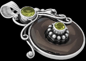 Pyrite Peridot and Sterling Silver Pendant MP200ppr