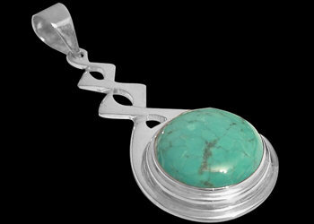 Celtic Jewelry - Turquoise and .925 Sterling Silver Pendant MP030B