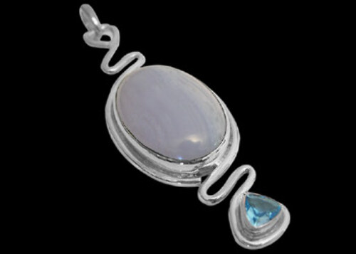 Blue Agate Topaz and Sterling Silver Pendant MP017