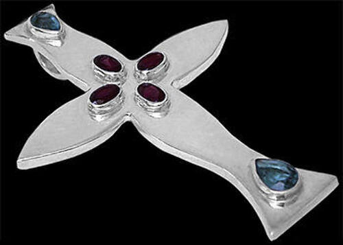 Garnet Topaz and Sterling Silver Crosses MP016