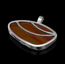 Women's Jewellery - Brown Agate Sterling Silver Pendant 1