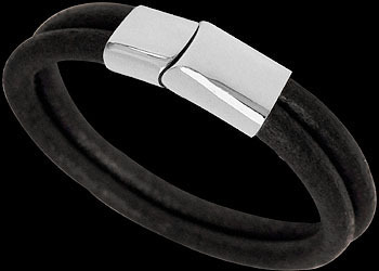 Black Leather and 316L Stainless Steel Bracelets BD14BK