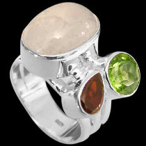 Rainbow Garnet Peridot and Sterling Silver Ring R1112rmga