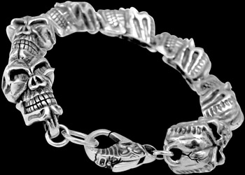 Gothic Jewelry - .925 Sterling Silver Skull Bracelet RCK403 - Ornate Lobster Clasp - 12mm