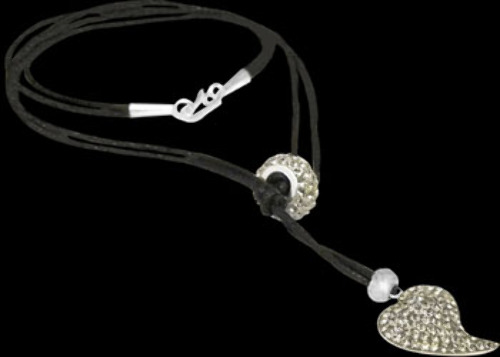 Valentines Day Jewelry Gift - Sterling Silver Crystal Beads with Black Cotton Cord Necklaces BN369