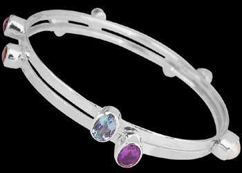 Valentine's Day Jewelry Gift - Silver Jewelry - Sterling Silver Stacking Bracelets with Assorted Gemstones B548