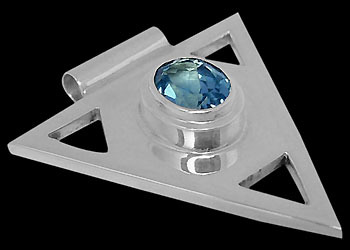 Gemstone Pendants - Swiss Blue Topaz and .925 Sterling Silver Triangle Pendant MP097sw