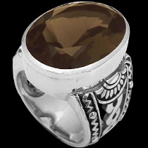Silver Jewelry - Smokey Quartz and .925 Sterling Silver Ring R1031smk