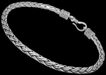 Mens Jewelry - .925 Stelring Silver Bracelets B466H - 3mm - Hook Clasp