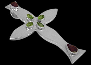 Peridot Garnet and Sterling Silver Crosses MP016