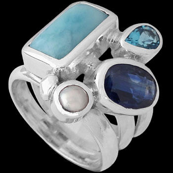 Topaz Larimar White Pearl Kyranite and Sterling Silver Ring MR-1112D
