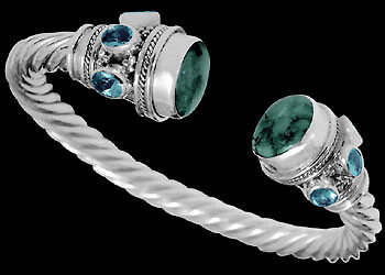 .925 Jewelry - Turquoise Topaz and .925 Sterling Silver Cable Bracelets B500