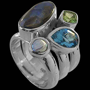 Bolder Opal Pearl Topaz Peridot and .925 Sterling Silver Ring MR-1112
