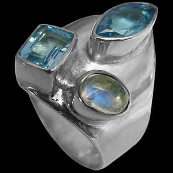 Topaz Rainbow Moonstone and .925 Sterling Silver Ring MR03