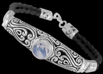 Rainbow Moonstone Synthetic Leather and .925 Sterling Silver Bracelets B709