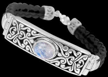 Rainbow Moonstone Synthetic Leather and .925 Sterling Silver Bracelets B710