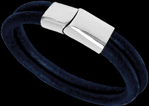 Dark Blue Leather and 316L Stainless Steel Bracelets BD14DB