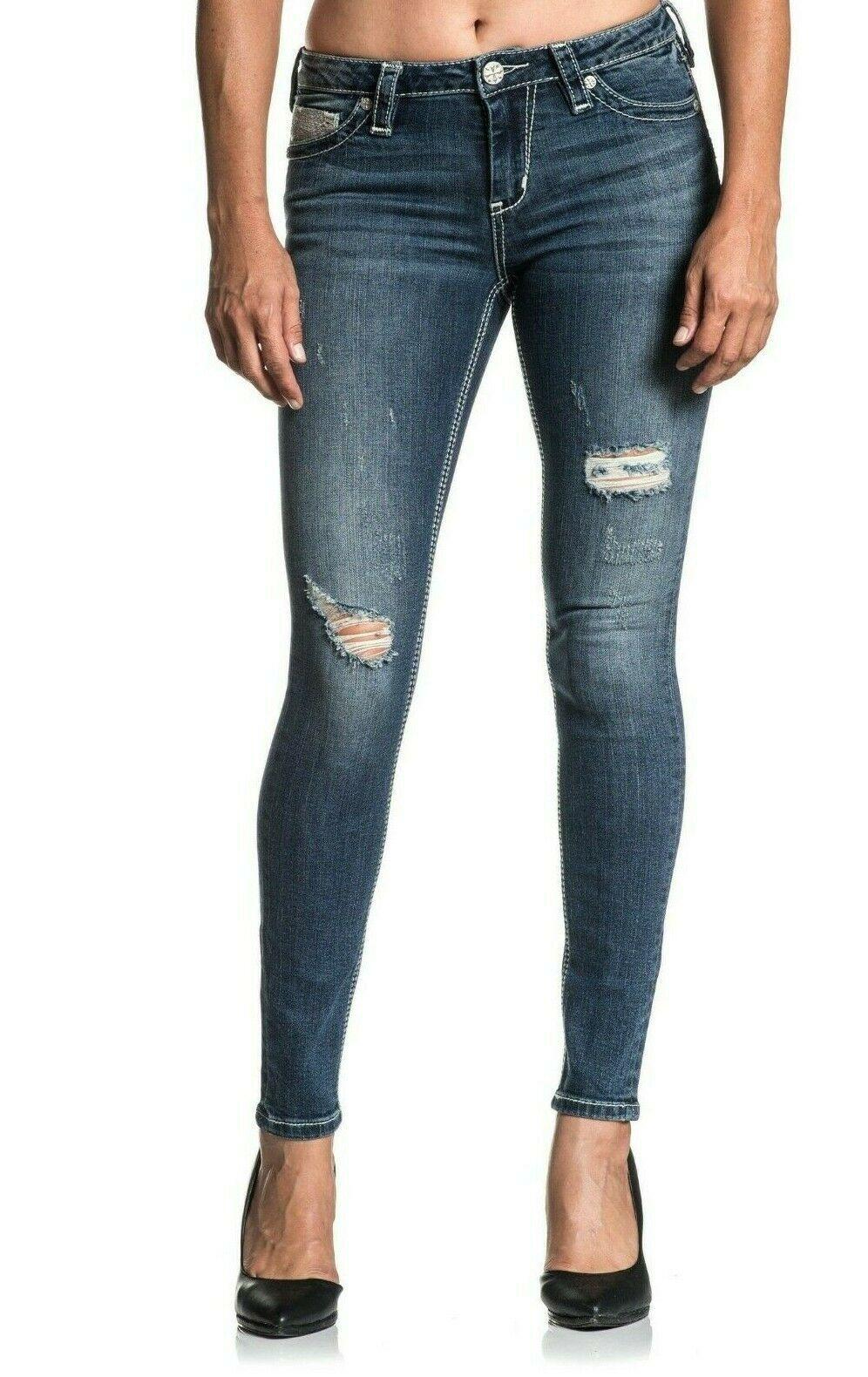 AFFLICTION Women/'s Denim Jeans RAQUEL FLEUR TEAL Embroidered Buckle $125 B38