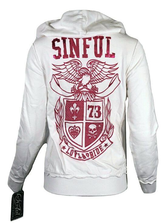 SINFUL by AFFLICTION Women/'s LUNAR HOODIE Jacket Skull Biker Pink Wings