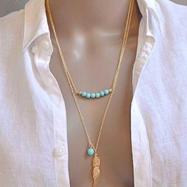 LADY BOHEMIAN FEATHER TURQUOISE CRYSTAL BEAD CLAVICLE NECKLACE PENDANT CHAIN