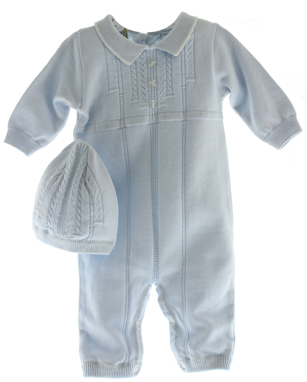 Boys White Dressy Romper Outfit Blue Smocking Feltman Brothers