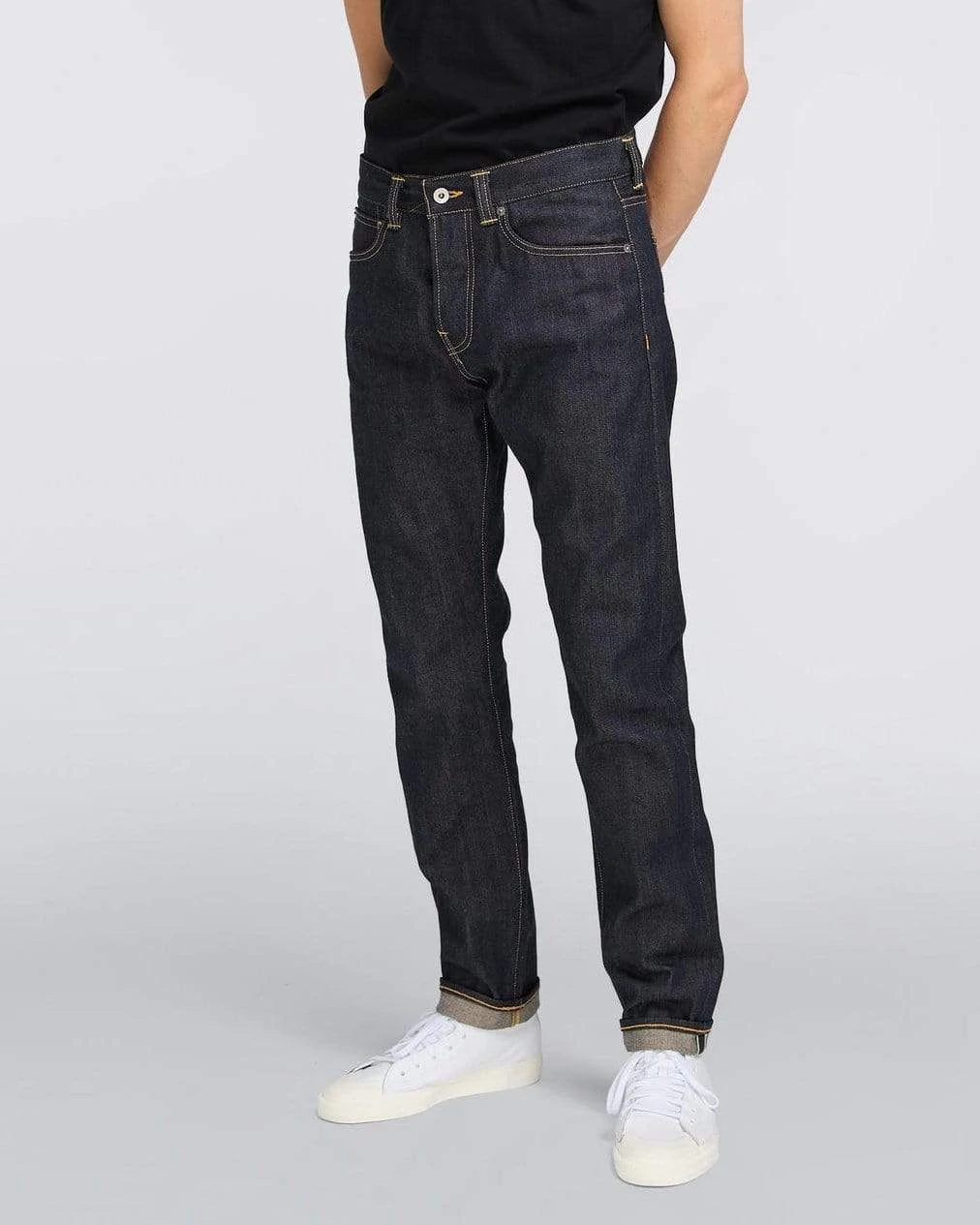 EDWIN ED ONE SLIM TAPERED FIT RED LISTED SELVAGE MENS JEANS 14OZ DENIM UNWASHED