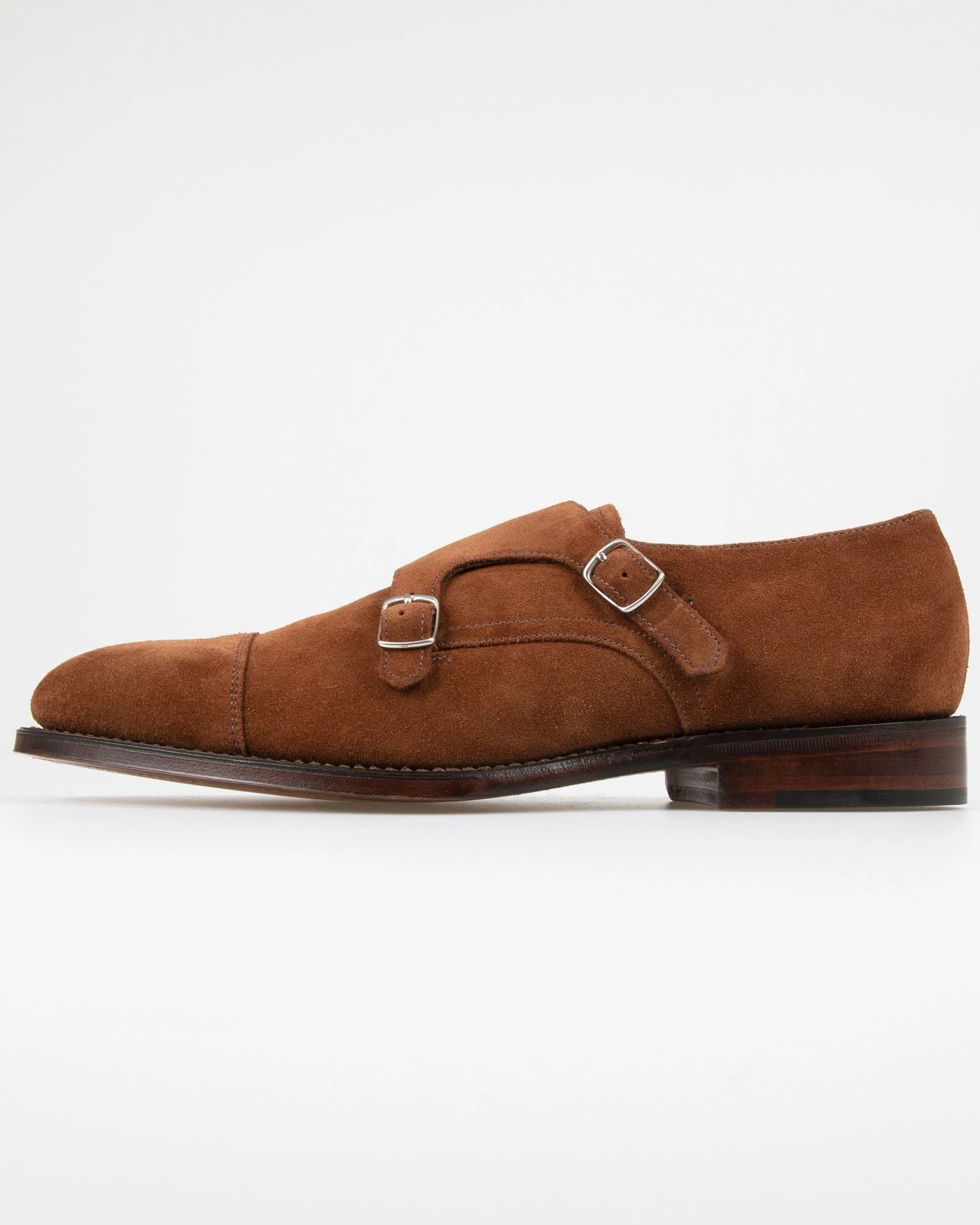 Brown Polo Suede Loake Cannon Twin Buckle Monk Shoe