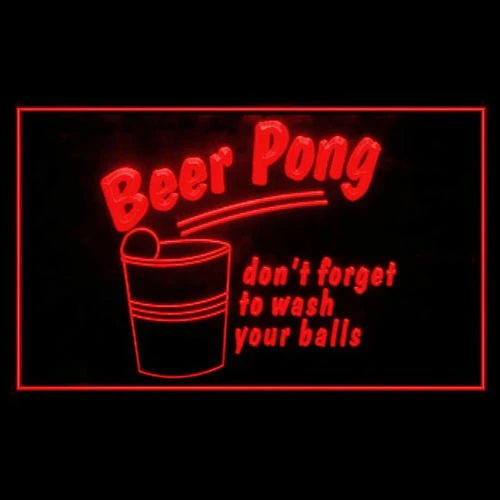 """Beer Pong /""""don/'t forget to wash your balls/"""" LED Sign"""