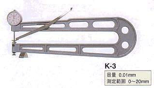 Model # K-3 - DIAL SHEET GAUGE 0.01 x 20 x 500 mm Throat depth 20 mm  flat contact and anvil.