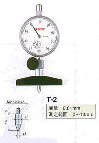 Model # T-2 - DIAL DEPTH GAUGE 0.01 x 10 mm with 107WF-T