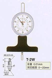 Model # T-2W - DIAL DEPTH GAUGE 0.01 x 20 mm with 207WF-T