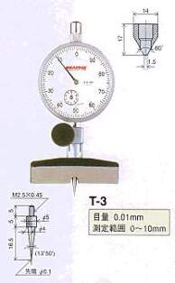 Model # T-3 - DIAL DEPTH GAUGE 0.01 x 10 mm with Contact Point XT-3
