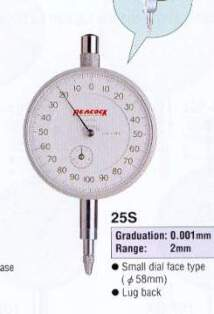 Model # 25S - DIAL GAUGE 0.001 x 2 mm Small Dial face