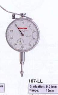 Model # 107-LL - DIAL GAUGE 0.01 x 10 mm with Lifting Lever