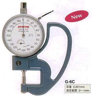 Model # G-6C - DIAL THICKNESS GAUGE 0.001 x 1 mm 5 mm  Metal contact.