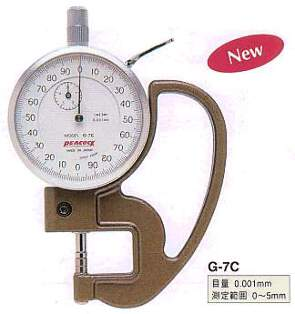 Model # G-7C - DIAL THICKNESS GAUGE 0.001 x 5 mm 5 mm  Metal contact.