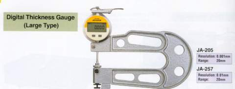 Model # JA-257 - DIG THICKNESS GAUGE 0.01 mm x 20 mm 150 mm throat depth. 10 mm  contacts.