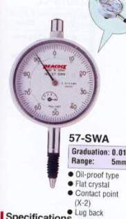 Model # 57-SWA - DIAL GAUGE 0.1 x 5 mm oil-proof