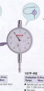 Model # 107F-RE - DIAL GAUGE 0.01 x 10 mm Flat Back Cable release