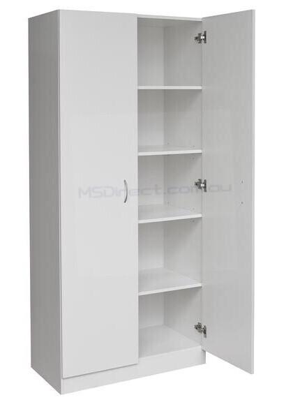 Details About New 2 Door Pantry Cupboard Linen Storage Cabinet Shelf Wardrobe Kitchen Laun