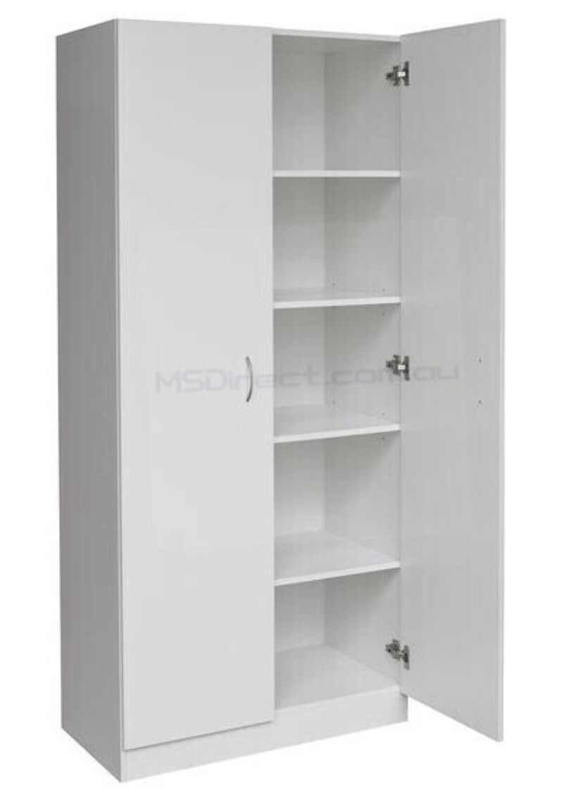 New 2 Door Pantry Cupboard Linen Storage Cabinet Shelf Wardrobe