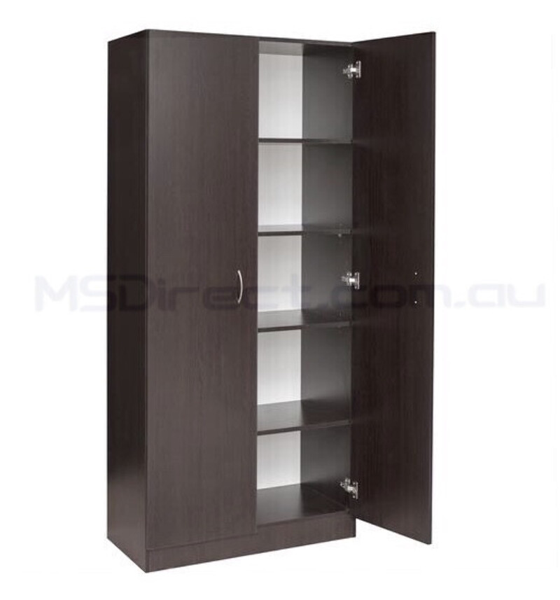 New 2 Door Pantry Linen Storage Cupboard Shelf Wardrobe Kitchen