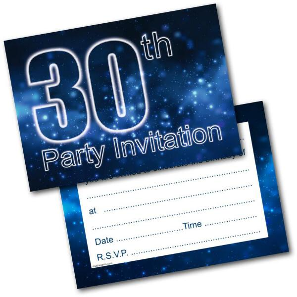 30th Birthday Party Invitations Age 30 Male Mens Pack Of 20 Invites
