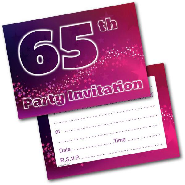 65th Birthday Party Invitations Age 65 Male Mens Female Womens Pack 20 Invites Feesten Speciale Gelegenheden