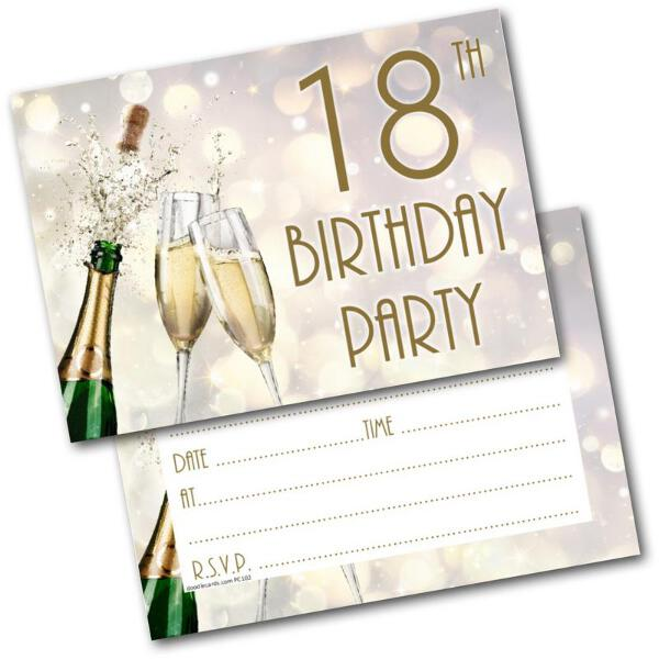 18th Birthday Party Invitations Age 18 Male Mens Female Womens Pack 20 Invites Wenskaarten, briefpapier