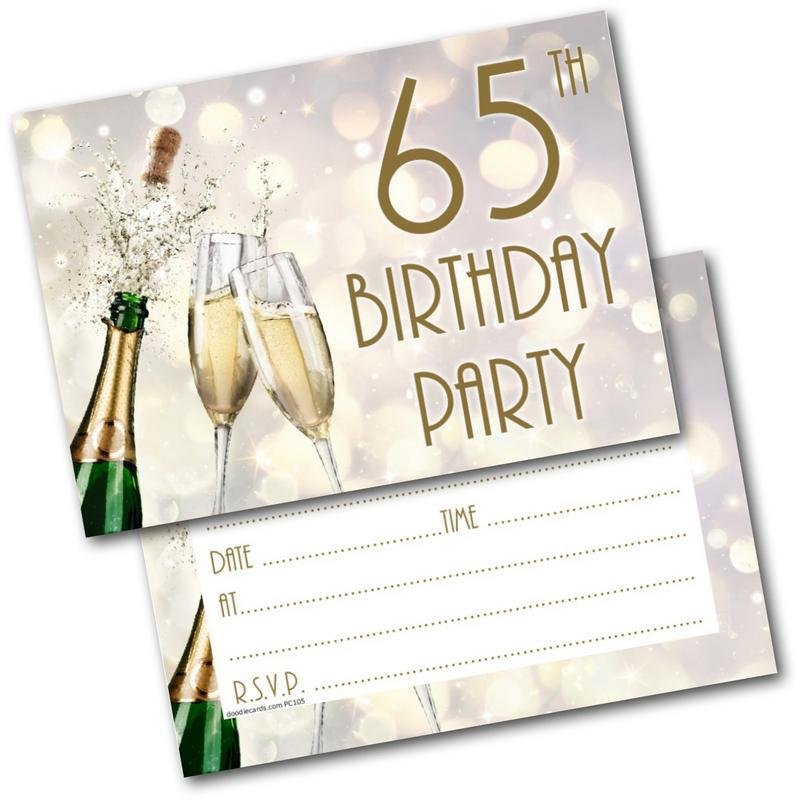 65th Birthday Party Invitations Age 65 Male Mens Female Womens Pack