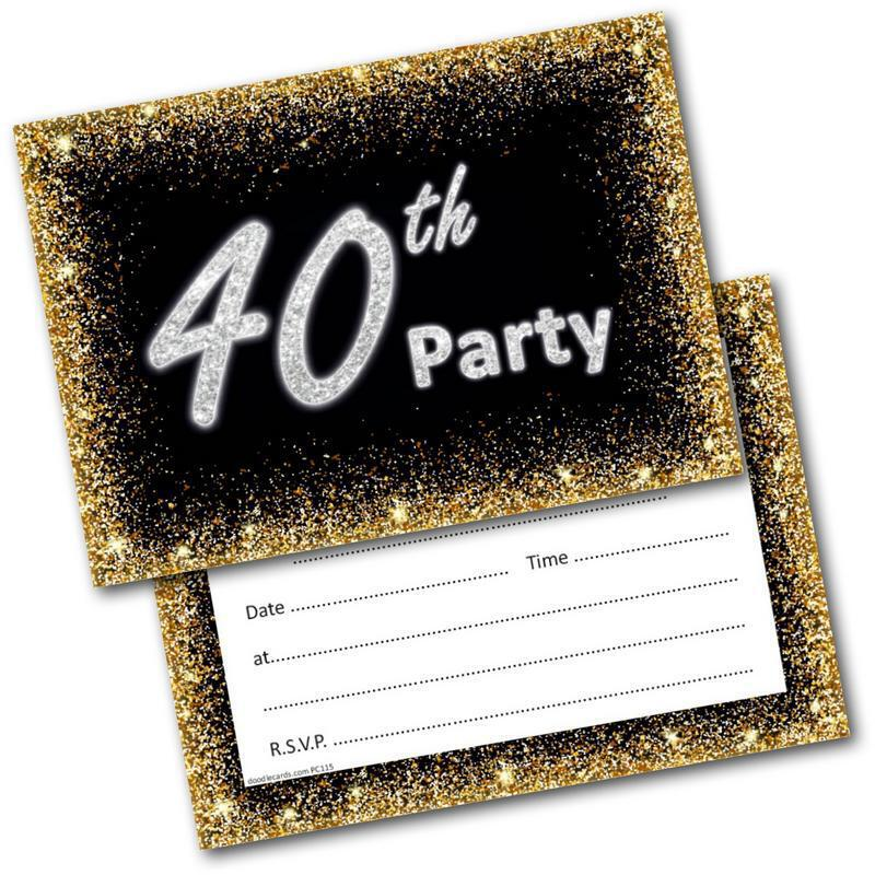 40th Birthday Party Invitations Age 40 Male Mens Female Womens Pack 20 Invites