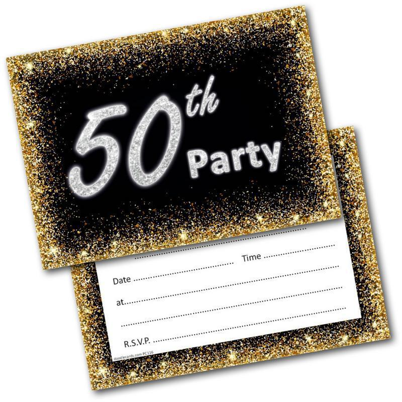 50th birthday party invitations age 50 male mens female womens pack